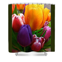 Shower Curtain featuring the photograph Tulips Smiling by Marie Hicks