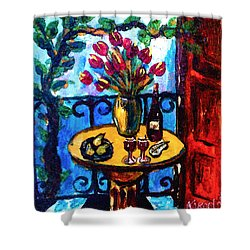 Tulips Wine And Pears Shower Curtain
