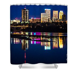 Tulsa Skyline At Twilight Shower Curtain by Tamyra Ayles