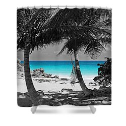 Tulum Mexico Beach Color Splash Black And White Shower Curtain