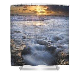Tumbling Surf Shower Curtain by Debra and Dave Vanderlaan