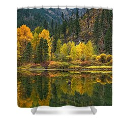Tumwater Reflections Shower Curtain by Lynn Hopwood