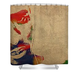 Tupac Shakur Watercolor Portrait Shower Curtain