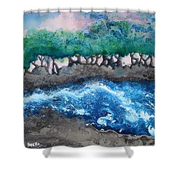Turbulent Waters Shower Curtain by Antonio Romero