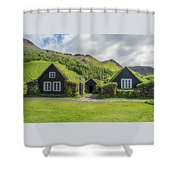 Turf Roof Houses And Shed, Skogar, Iceland Shower Curtain