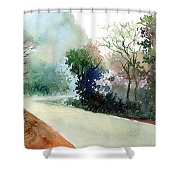 Turn Right Shower Curtain by Anil Nene