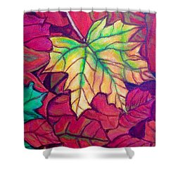 Shower Curtain featuring the painting Turning Maple Leaf In The Fall by Kimberlee Baxter