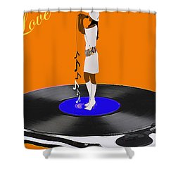Turntable Love Shower Curtain