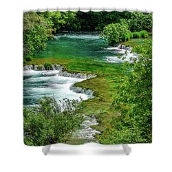 Turqouise Waterfalls Of Skradinski Buk At Krka National Park In Croatia Shower Curtain