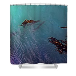 Turquoise Current And Seaweed Shower Curtain