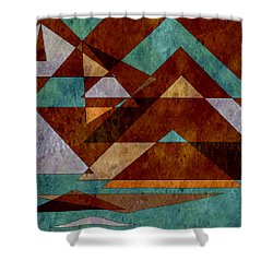 Turquoise And Bronze Triangle Design With Copper Shower Curtain