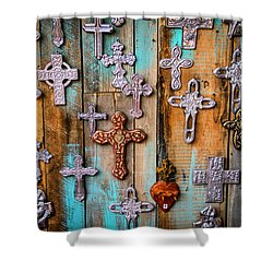 Turquoise And Crosses Shower Curtain by Juli Ellen