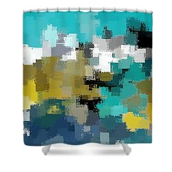 Turquoise And Gold Shower Curtain