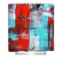 Shower Curtain featuring the painting Turquoise And Red Abstract Painting by Christina Rollo