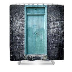 Turquoise Door Shower Curtain