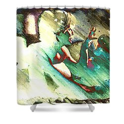 Turquoise Embrace Shower Curtain by Andrea Barbieri
