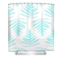 Turquoise Fern Array Shower Curtain