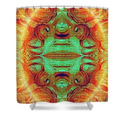 Turquoise Fire Shower Curtain