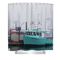 Turquoise Fishing Boat Shower Curtain by Jerry Fornarotto