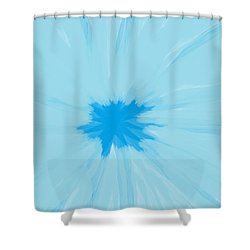 Turquoise Flower Abstract Shower Curtain by Linda Velasquez