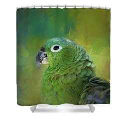 Turquoise-fronted Amazon Shower Curtain by Eva Lechner