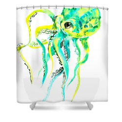 Turquoise Green Octopus Shower Curtain