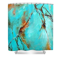 Turquoise Impression Shower Curtain