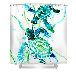 Turquoise Indigo Sea Turtles Shower Curtain by Suren Nersisyan