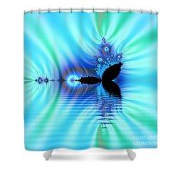 Turquoise Lake Fractal Shower Curtain