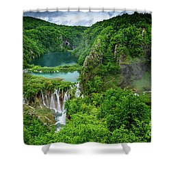 Turquoise Lakes And Waterfalls - A Dramatic View, Plitivice Lakes National Park Croatia Shower Curtain