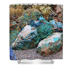 Turquoise Rocks Shower Curtain
