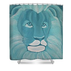 Turquoise Lion Shower Curtain