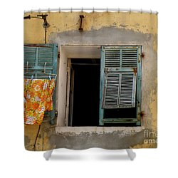 Turquoise Shuttered Window Shower Curtain