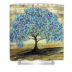 Turquoise Tree Shower Curtain