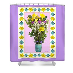 Shower Curtain featuring the digital art Turquoise Vase With Spring Bouquet by Lise Winne