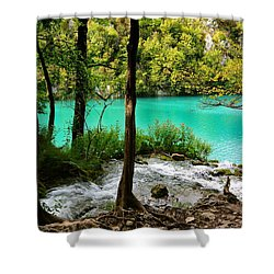 Turquoise Waters Of Milanovac Lake Shower Curtain by Two Small Potatoes