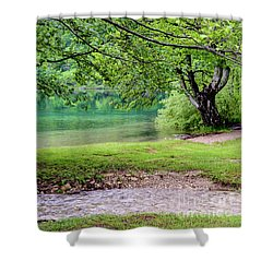 Turquoise Zen - Plitvice Lakes National Park, Croatia Shower Curtain