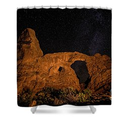 Shower Curtain featuring the photograph Turret Arch And The Milky Way - Utah by Gary Whitton