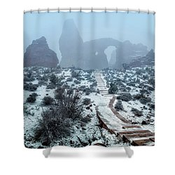 Turret Arch In The Fog Shower Curtain