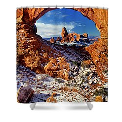 Shower Curtain featuring the photograph Turret Arch Through North Window Arches National Park Utah by Dave Welling