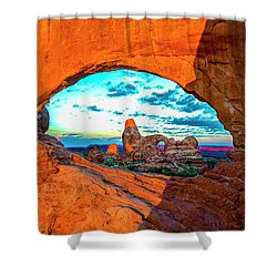 Shower Curtain featuring the photograph Turret Arch Through Window by Norman Hall