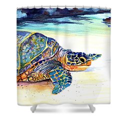 Turtle At Poipu Beach 2 Shower Curtain by Marionette Taboniar