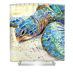 Turtle At Poipu Beach 4 Shower Curtain by Marionette Taboniar