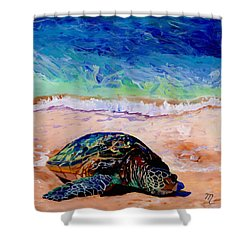 Turtle At Poipu Beach 9 Shower Curtain by Marionette Taboniar