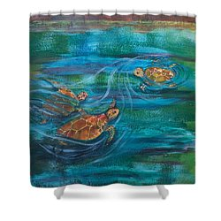 Turtle Ballet Shower Curtain by Bonnie Rabert
