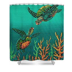 Shower Curtain featuring the painting Turtle Love by Darice Machel McGuire