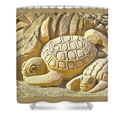 Turtle Sand Castle Sculpture On The Beach 999 Shower Curtain