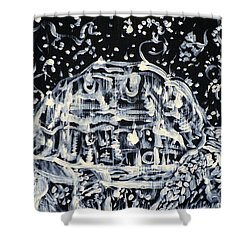 Shower Curtain featuring the painting Turtle Walking Under A Starry Sky by Fabrizio Cassetta