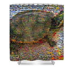 Shower Curtain featuring the mixed media Turtle Wild Animals Mosaic by Paul Van Scott