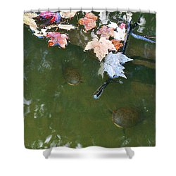 Shower Curtain featuring the photograph Turtles And Leaves In The Water by Irina Sztukowski